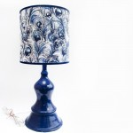 Blue Lamp with Feather Fabric Shade