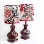 Red Ceramic Lamps with Fabric Shades