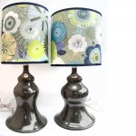 Metallic Green Lamps with Fabric Shades